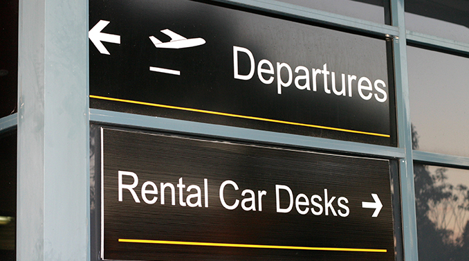 car rental airport section